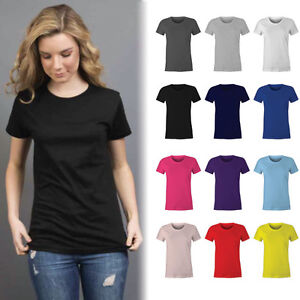 Womens-Plain-100-Cotton-T-shirt-Blank-Basic-Women-039-s-Ladies-Adults-Tee-Size-6