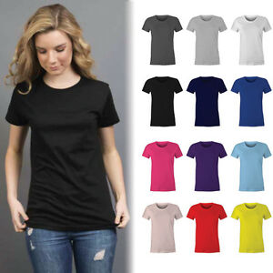 Womens Plain 100% Cotton T-shirt Blank Basic Women's Ladies Adults Tee | Size 6-