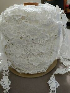 """Roll white Bridal Roses embroidered eyelet  Lace Trim 1.""""w WHOLESALE"""