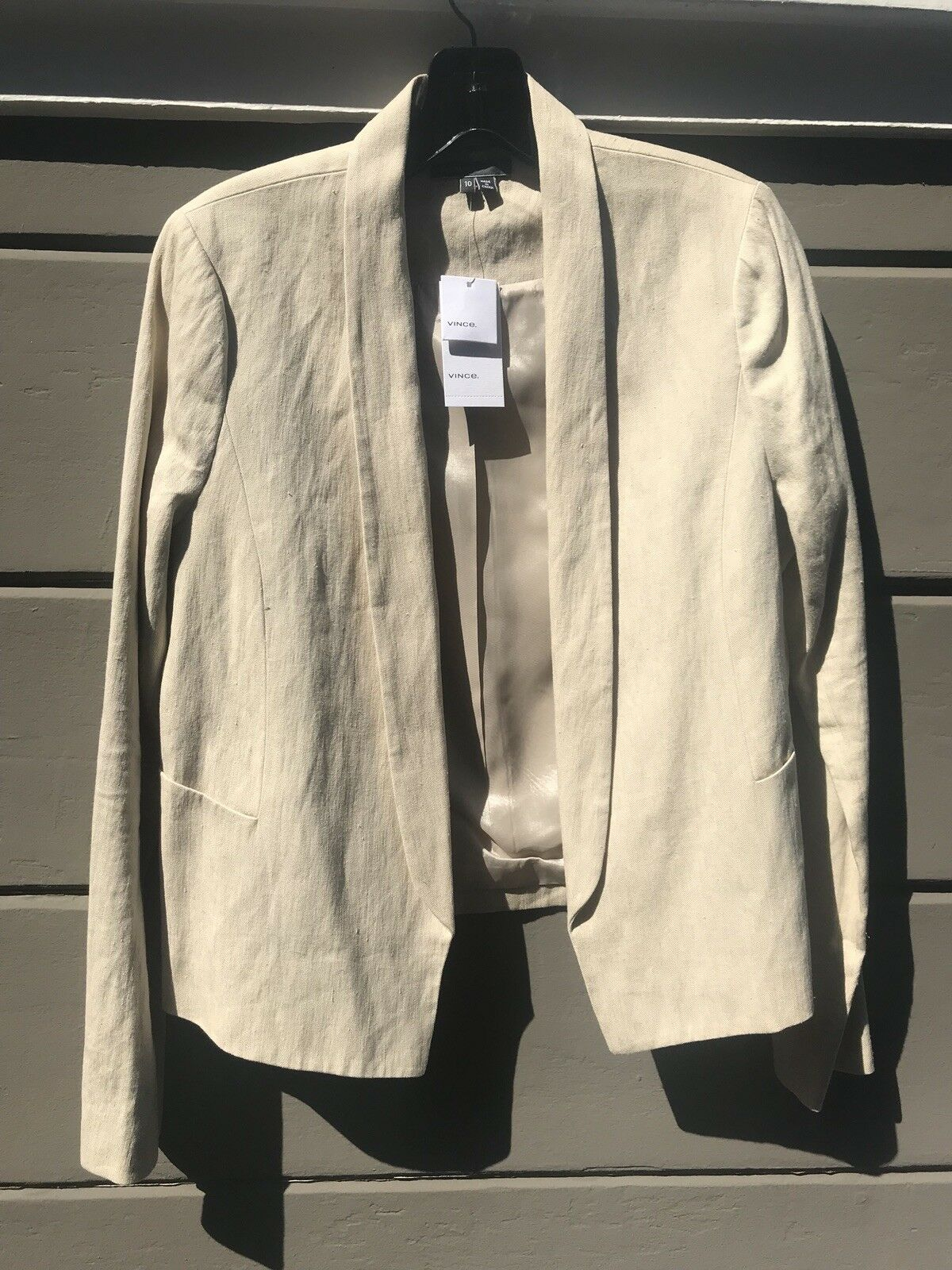 NWT Vince open blazer in neutral khaki - Size 10
