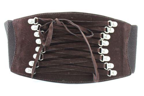 Chic Women Dark Brown Faux Suede Leather Wide Elastic Corset High Waist Belt S M