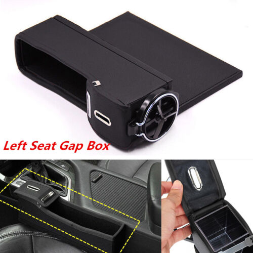 1Pc Car Seat Catcher Gap Left Cup Holder Side Filler Storage Box Coin Collector