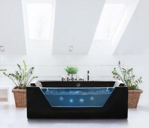 Whirlpool badewanne schwarz freistehend mit glas led licht armaturen spa f r bad ebay - Whirlpool badewanne freistehend ...