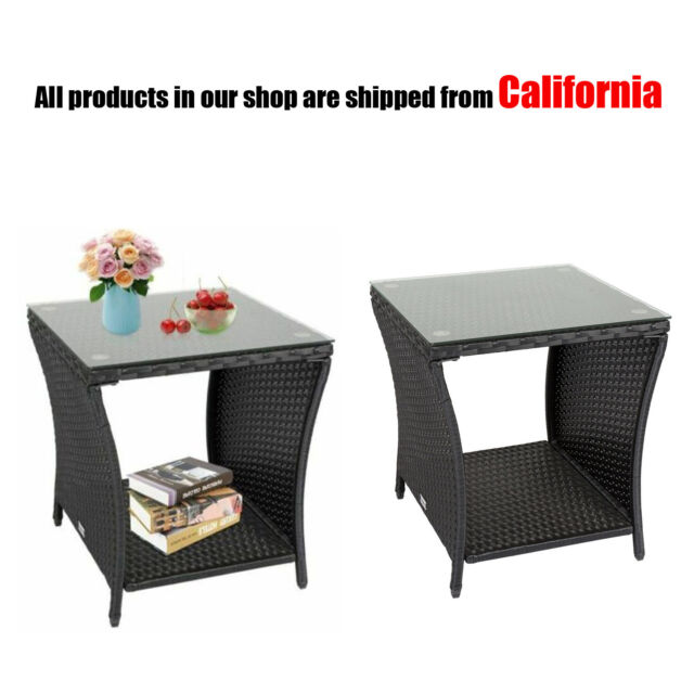 Set Of 2 Garden Rattan Wicker Glass Coffee Table Tea Table Outdoor Furniture For Sale Online