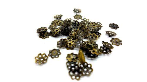 200 pcs 6 mm Bronze Plaqué Flower Bead Caps-A5602 k2-Accessoires