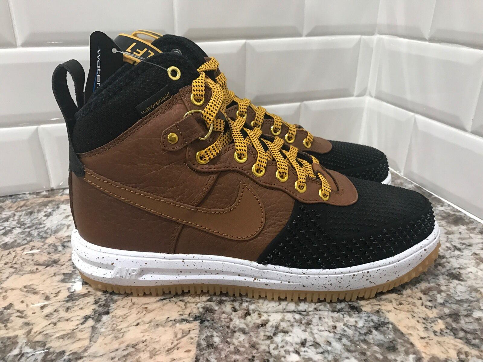 Nike Nike Nike Lunar Air Force One 1 Duckboot Gold Gum Tan Black Men's SZ 7.5 805899-004 65b45e