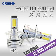 120W 12400LM CREE LED 9003/H4 Headlight Kit High/Low Beam Bulbs 6000K White