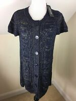 Loulou Cardigan Sweater Size Xl Long Button Up Navy Blue Tan Small Pockets