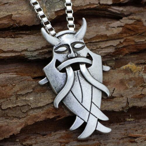Valknut Viking Odin/'s Mask pour Ruse runique Nordic Argent Collier Pendentif