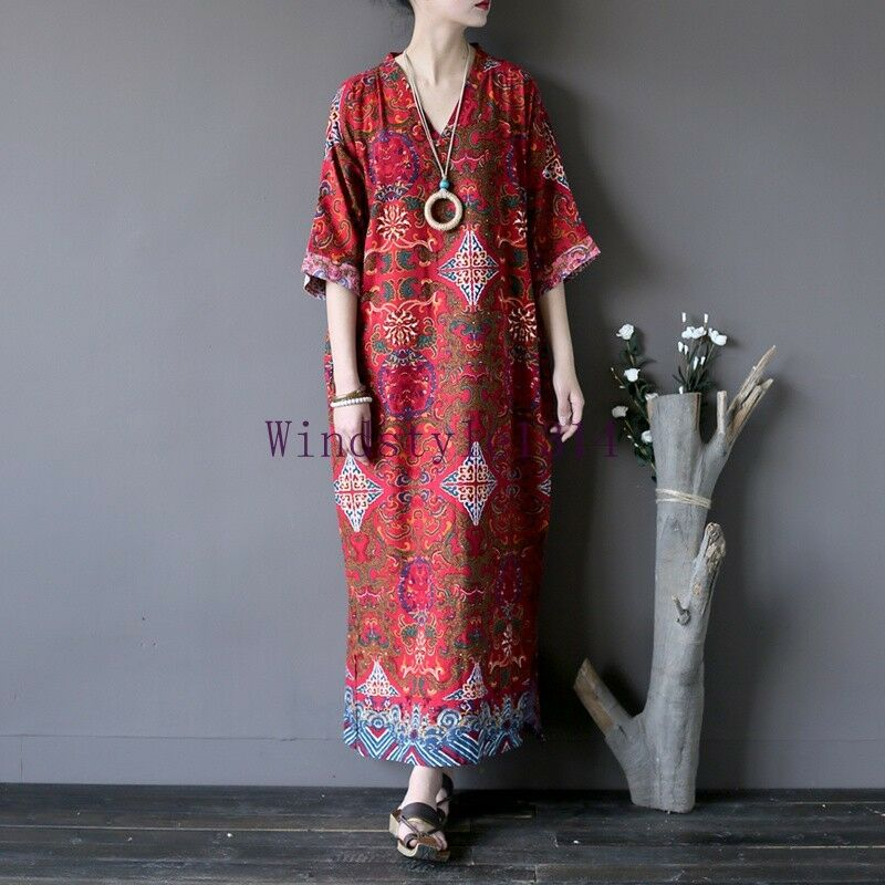 Women s Half Sleeve Floral Printing V Neck Dress Ethnic Cotton Linen Loose Maxi