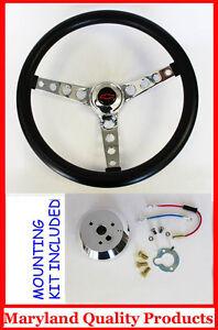 60-69-Chevrolet-Chevy-Pick-Up-GT-Black-Steering-Wheel-Black-Red-Bowtie-14-1-2-034