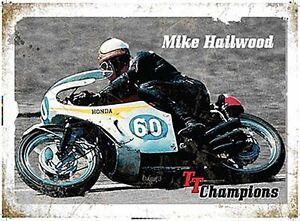 Mike-Hailwood-Tt-Champions-Letrero-de-Acero-Grande-400mm-x-300mm-Og