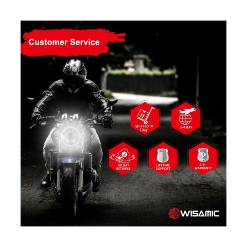 """with Halo DRL Compatible with Harley Dav... Wisamic 5-3//4/"""" 5.75/"""" LED Headlight"""