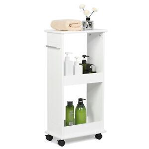 Details about Slimline Rolling Storage Shelf Gap Cart Bathroom Kitchen  Narrow Space Organizer
