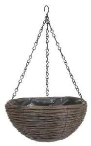 Natural Willow Wicker Round Hanging Basket Planter 35 cm