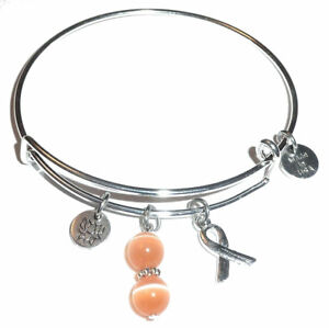 Image Is Loading Peach Uterine Cancer Awareness Expandable Bangle Bracelet