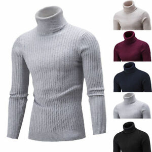 Winter Men Slim Warm Knit High Neck Pullover Jumper Sweater Top ...
