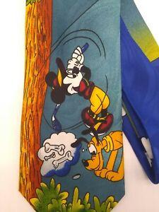Vintage Walt Disney World Mickey Mouse Goofy Donald Duck Pluto Tie 100/% Silk