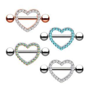 Pair Nipple Ring Stainless Steel Heart Shape Nipple Rings Body Piercing Jewelry Ebay
