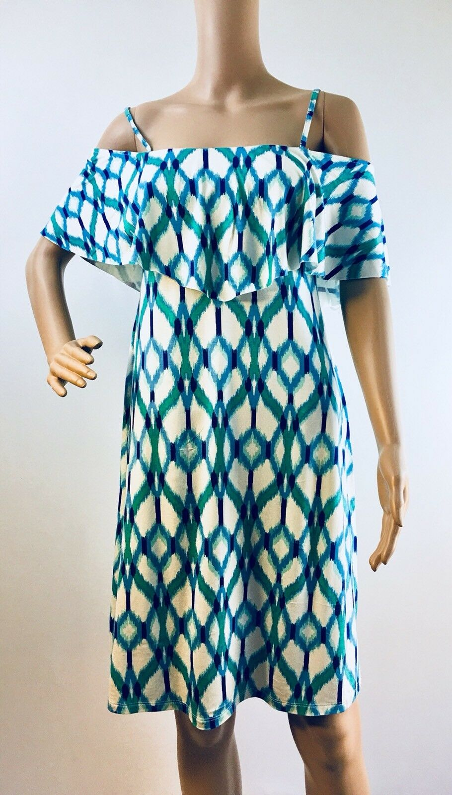 NWT Tart Anthropologie-Tacita Off Shoulder Short Dress bluee Green Sz-M