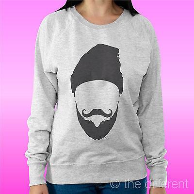 "Felpa Donna Leggera Sweater Grigio Chiaro "" Beard Hat Barba "" Road To Happiness"