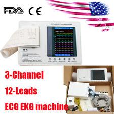 Us Fda Portable Ecg Machine Ekg Monitor Electrocardiograph 3 Channel Lcd Display