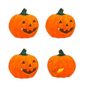 4x Kurbis Windlicht Fur Halloween Herbst Deko Kerzen Teelicht Halter Keramik G Ebay