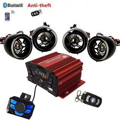 2X Motorcycle Scooter Audio System FM MP3 Radio AUX-IN Stereo Amplifier Speaker