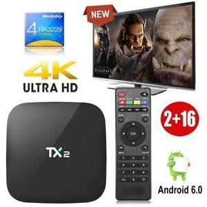 TX2 2GB+16GB Quad core Android 6.0 Smart 4K H.265 TV BOX Bluetooth WIFI HDMI FR