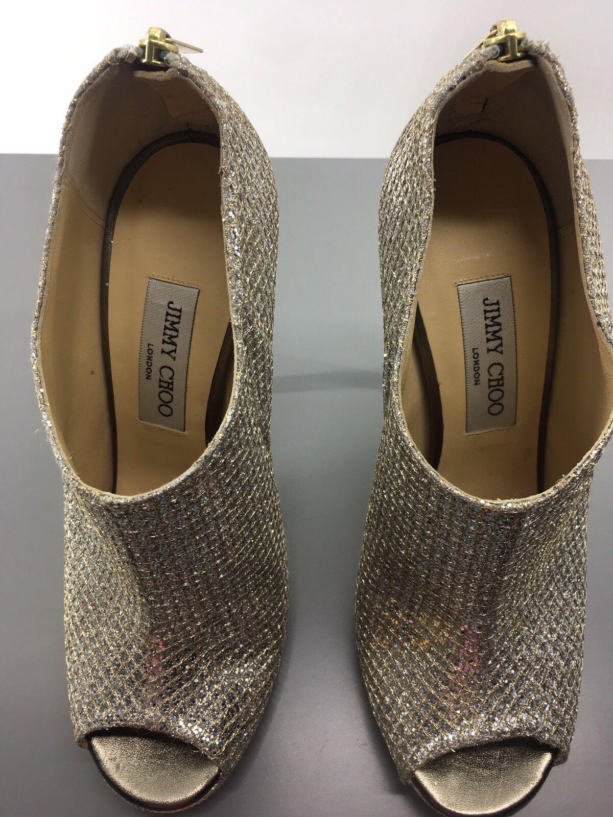 AUT Jimmy Choo Choo Choo Silver Glint Open-Toe Glitter Ankle Boots IT 39  US 8.5 EUC 69d335