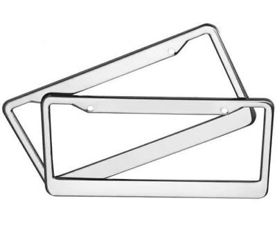 2PCS CHROME PLASTIC  LICENSE PLATE FRAME TAG COVER SHINY MIRROR LIKE TAG HOLDER