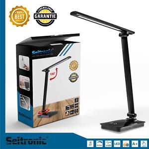 LED-Tischlampe-Schreibtischleuchte-Buero-dimmbar-Lese-Lampe-Nachttischleuchte-USB
