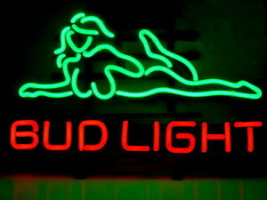 bud light sexy girl beer lager pub bar neon sign 20 x16 ebay. Black Bedroom Furniture Sets. Home Design Ideas