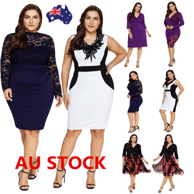 Plus Size Women Lace Dress Evening Party Cocktail Formal Prom Ball Mini Dress