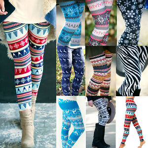 image is loading womens snowflake christmas print knitted leggings skinny jeggings - Christmas Print Leggings
