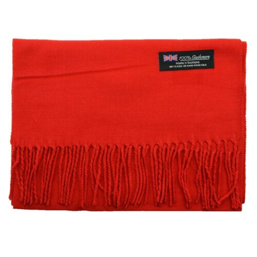 Men/'s 100/% CASHMERE Warm PLAIN Scarf pure solid Red Wool MADE IN SCOTLAND