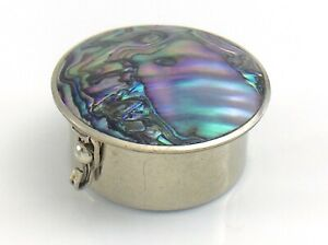 Abalone-Mother-Of-Pearl-Lid-Round-Lidded-Pill-Trinket-Snuff-Box-Mexico-I964