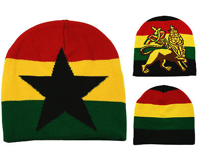 Rasta Pull On Knitted Beanie Cap Hat Star Stripe Lion Of Judah