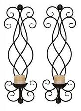 Metal Candle Sconce Set of 2 Holder Wall Home Decor NEW