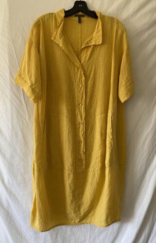OSKA Yellow Linen Oversized Dress Sz L/XL