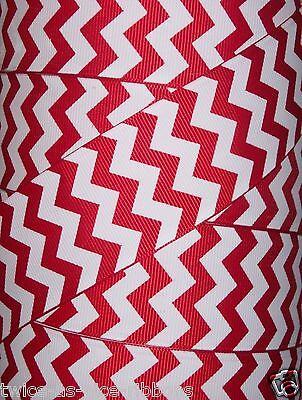 Choose Length 1.5 Red Chevron ZigZag Grosgrain Ribbon