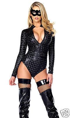 Forplay Sexy Black Hologram Zipfront Bodysuit Costume