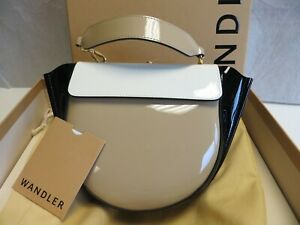 Wandler-NIB-Hortensia-Lacquer-Tan-Blk-Wht-Colorblock-Crossbody-Mini-Shoulder-Bag