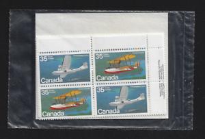 Canada-Set-of-4-Blocks-1979-Aircraft-Flying-Boats-845-846-MNH