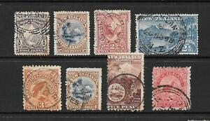 1898-Queen-Victoria-SG246-to-SG265-Collection-of-8-stamps-used-New-Zealand
