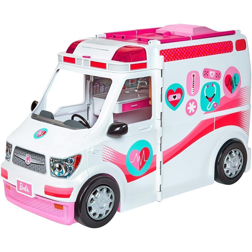 Mattel FRM19 Barbie 2in1 Krankenwagen mit Licht und Geräuschen Sound Spielset