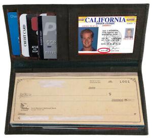Brown-Genuine-Leather-Checkbook-Cover-Organizer-Long-Wallet-Men-Women