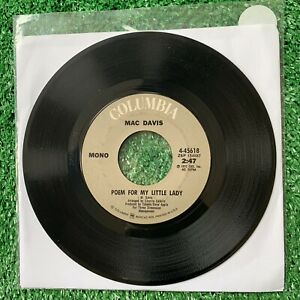 MAC-DAVIS-034-BABY-DON-039-T-GET-HOOKED-ON-ME-Poem-034-COLUMBIA-4-45618-1972-45rpm