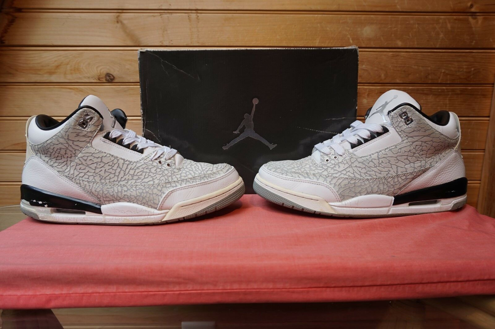 2006 Nike Air Jordan Retro 3 Flip Wht Blk Met Silver Sz 10.5 (4840) 315767-101