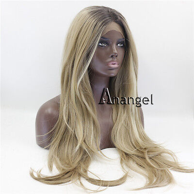 2 Tones Ombre Blonde Lace Front Wig Long Straight Heat Resistant Synthetic Hair